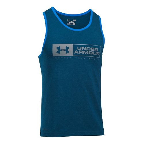 Mens Under Armour Bar Lockup Sleeveless & Tank Tops Technical Tops - Blackout Navy/Steel M ...
