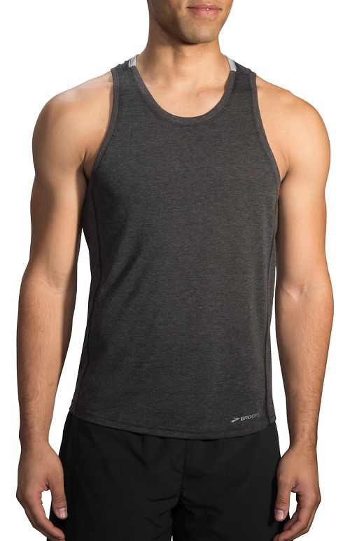 Mens Brooks Distance Tank  Technical Tops - Heather Black XXL
