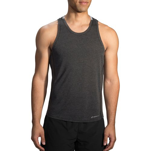 Mens Brooks Distance Tank  Technical Tops - Heather Black XS