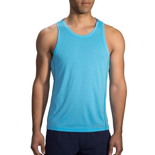 Mens Brooks Distance Tank  Technical Tops - Heather Pool XL