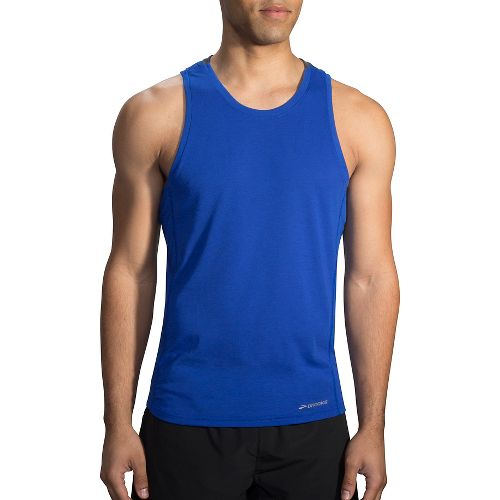 Mens Brooks Distance Tank  Technical Tops - Heather Cobalt/Black XXL