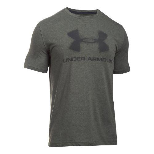 Mens Under Armour Chalked Sportstyle Logo Short Sleeve Technical Tops - Artillery Green M