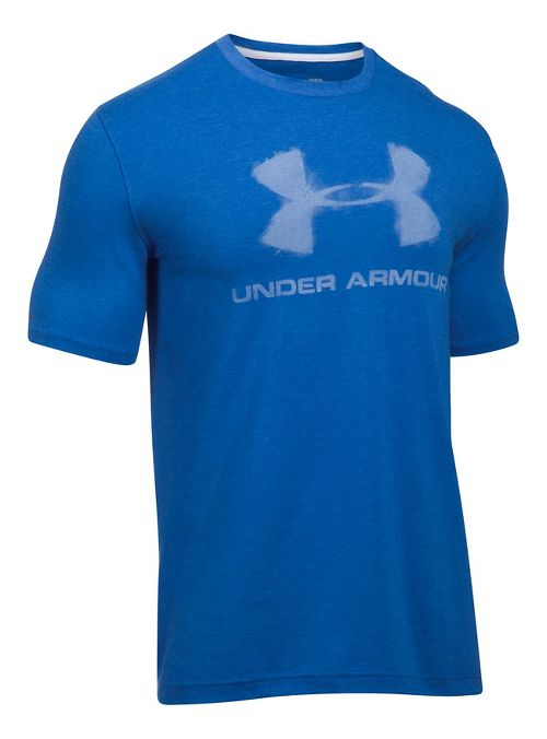 Mens Under Armour Chalked Sportstyle Logo Short Sleeve Technical Tops - Blue Marker L