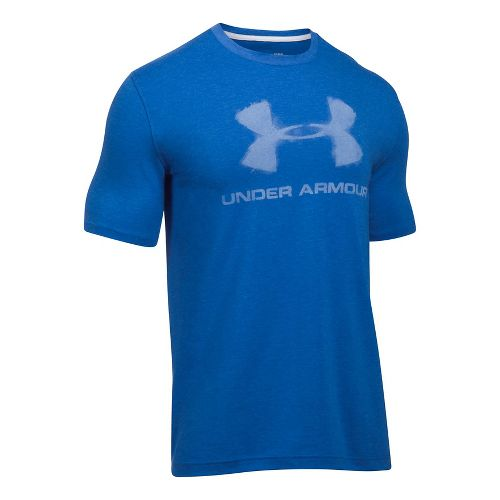 Mens Under Armour Chalked Sportstyle Logo Short Sleeve Technical Tops - Blue Marker M