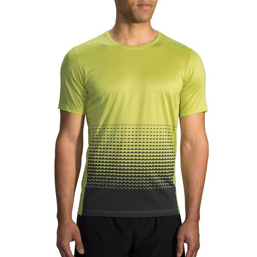 Mens Brooks Ghost Printed Short Sleeve Technical Tops - Grove/Asphalt Verge XS