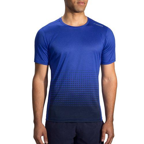 Mens Brooks Ghost Printed Short Sleeve Technical Tops - Cobalt/Asphalt Verge XS