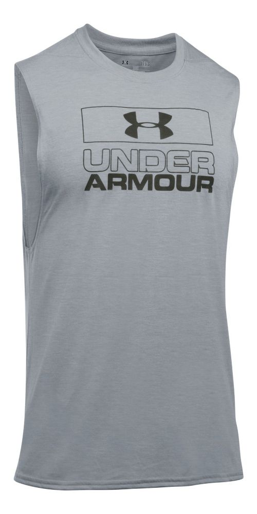 Mens Under Armour Graphic Muscle Tee Sleeveless & Tank Tops Technical Tops - True Grey Heather L