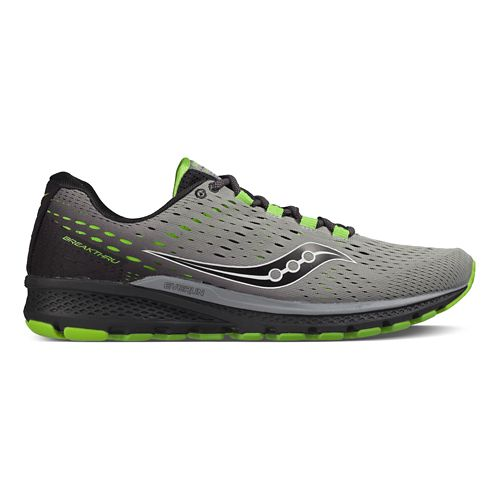 Mens Saucony Breakthru 3 Running Shoe - Grey/Back/Citron 8.5