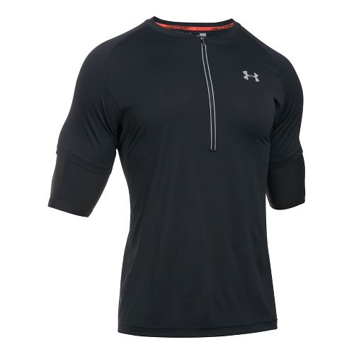 Mens Under Armour Transport 1/2 Zip Short Sleeve Technical Tops - Black S