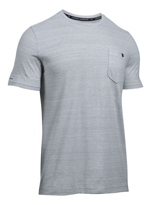 Mens Under Armour Charged Cotton Pocket Tee Short Sleeve Technical Tops - True Grey Heather L