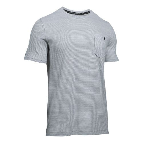 Mens Under Armour Charged Cotton Pocket Tee Short Sleeve Technical Tops - True Grey Heather ...