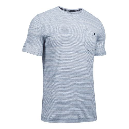 Mens Under Armour Charged Cotton Pocket Tee Short Sleeve Technical Tops - Blackout Navy L ...