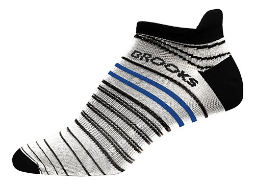 Brooks Launch Lightweight Tab Socks - White/Black L
