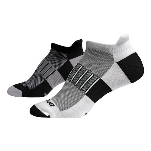Brooks Ghost Midweight 2 pack Socks - Black/Ox-White/Black M