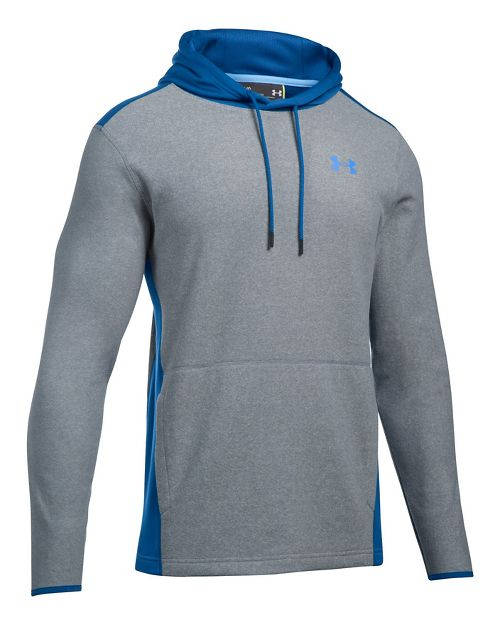 Mens Under Armour The CGI Fleece PO Half-Zips & Hoodies Technical Tops - Steel/Blue XL