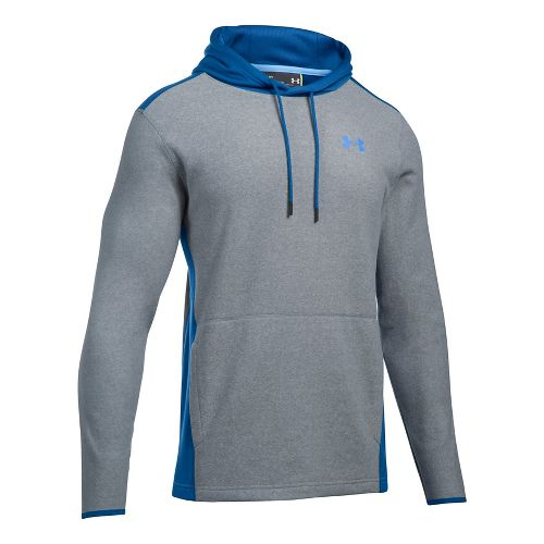 Mens Under Armour The CGI Fleece PO Half-Zips & Hoodies Technical Tops - Steel/Blue XL ...
