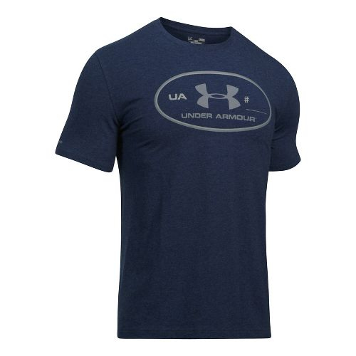 Mens Under Armour Lockertag Update - 60/40 S Short Sleeve Technical Tops - Navy Heather ...