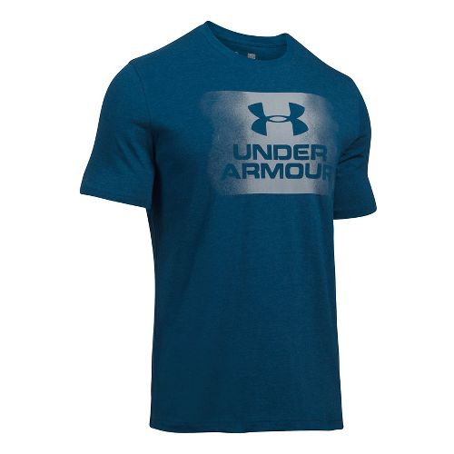 Mens Under Armour Overspray Logo Short Sleeve Technical Tops - Navy Heather L