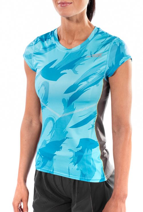 Womens Altra Running Tee Short Sleeve Technical Tops - Blue L