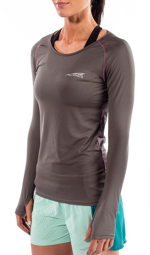 Womens Altra Running Long Sleeve Technical Tops - Grey XS