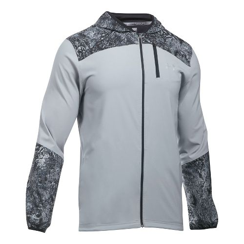 Mens Under Armour Storm Printed Running Jackets - Steel XL