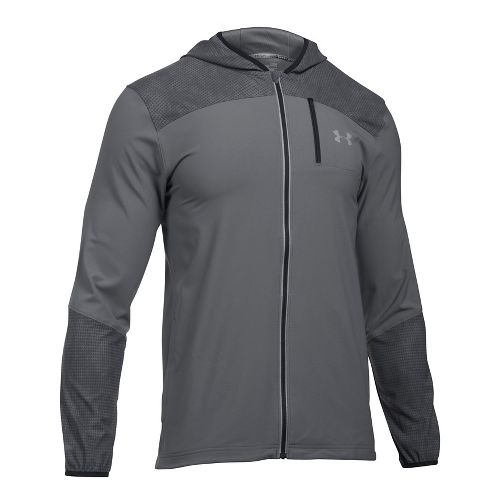 Mens Under Armour Storm Printed Running Jackets - Graphite XL