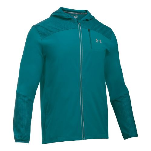 Mens Under Armour Storm Printed Running Jackets - Turquoise Sky M