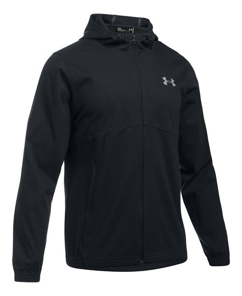 Mens Under Armour Spring Swacket Full-Zip Running Jackets - Black L