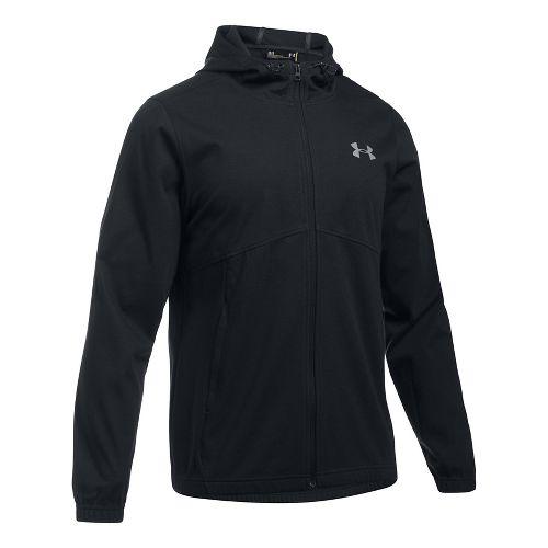Mens Under Armour Spring Swacket Full Zip Running Jackets - Black S