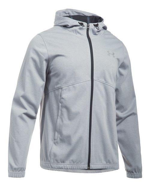Mens Under Armour Spring Swacket Full-Zip Running Jackets - Grey Heather/Black L