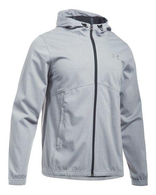Mens Under Armour Spring Swacket Full-Zip Running Jackets - Grey Heather/Black M