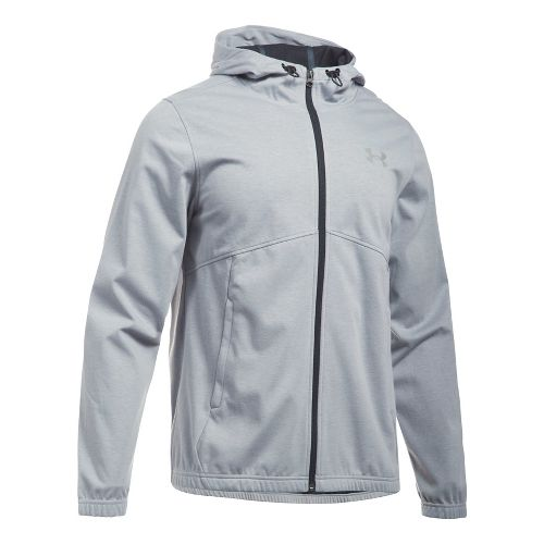 Mens Under Armour Spring Swacket Full Zip Running Jackets - Grey Heather/Black L