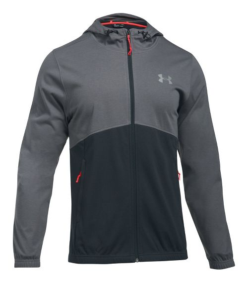Mens Under Armour Spring Swacket Full-Zip Running Jackets - Graphite/Anthracite S