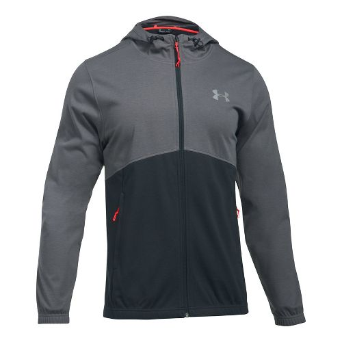 Mens Under Armour Spring Swacket Full-Zip Running Jackets - Graphite/Anthracite L