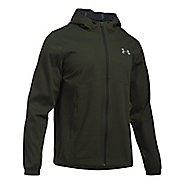 Mens Under Armour Spring Swacket Full-Zip Running Jackets - Army Green/Black S