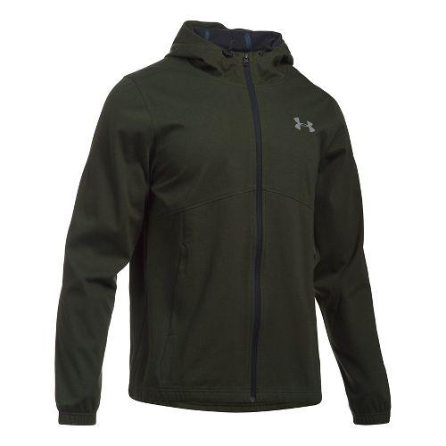 Mens Under Armour Spring Swacket Full Zip Running Jackets - Army Green/Black 3XL