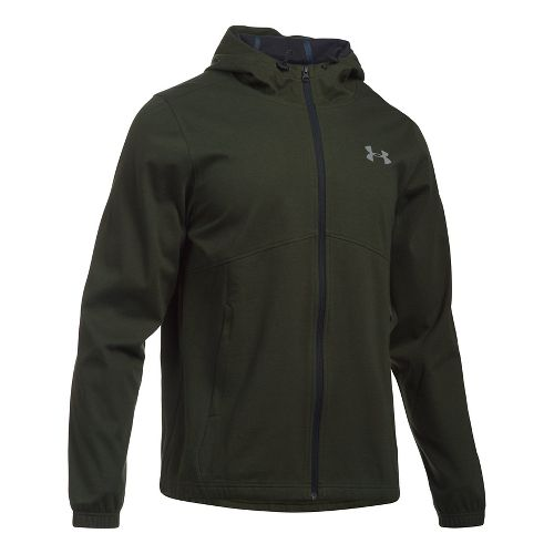 Mens Under Armour Spring Swacket Full Zip Running Jackets - Army Green/Black L