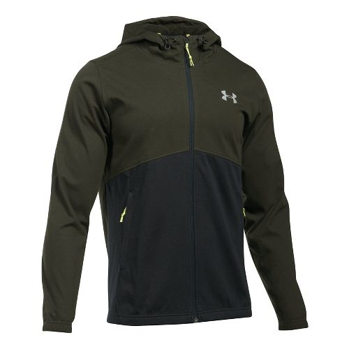Mens Under Armour Spring Swacket Full-Zip Running Jackets - Army Green/Black 3XL