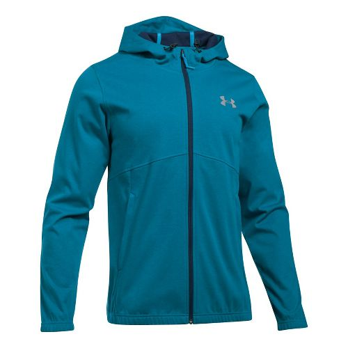 Mens Under Armour Spring Swacket Full-Zip Running Jackets - Bayou Blue/Blue L
