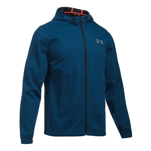 Mens Under Armour Spring Swacket Full Zip Running Jackets - Blackout Navy M
