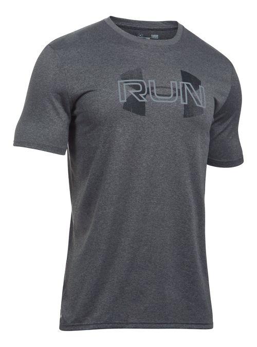 Mens Under Armour Run Overlap Logo Short Sleeve Technical Tops - Carbon Heather XL