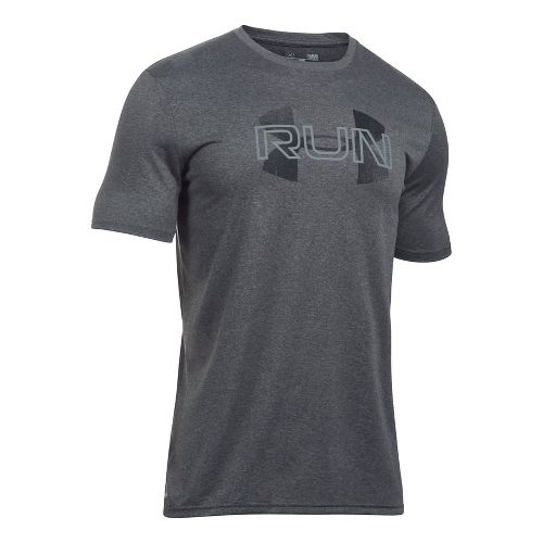 Mens Under Armour Run Overlap Logo Short Sleeve Technical Tops - Carbon Heather L