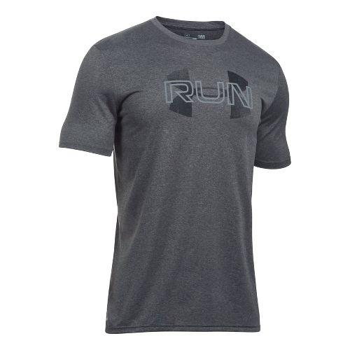 Mens Under Armour Run Overlap Logo Short Sleeve Technical Tops - Carbon Heather S