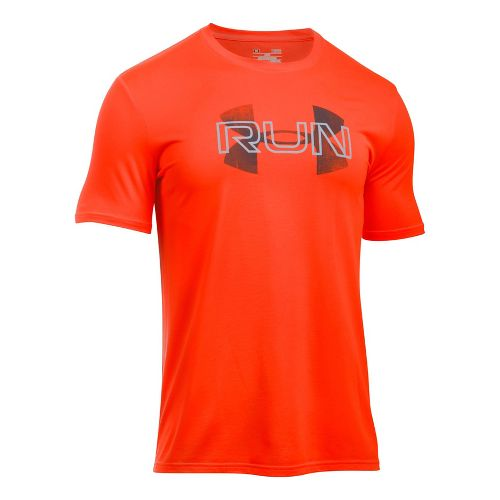 Mens Under Armour Run Overlap Logo Short Sleeve Technical Tops - Phoenix Fire M