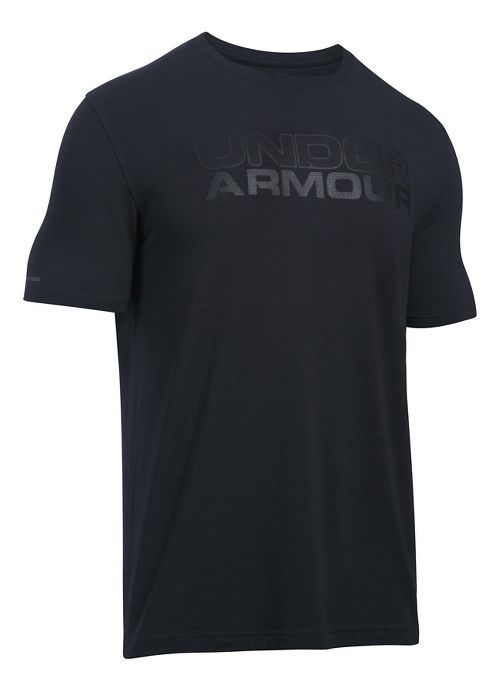 Mens Under Armour Mesh Gel Stacked Wordmark Short Sleeve Technical Tops - Black XL