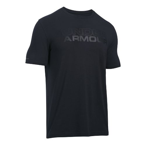 Mens Under Armour Mesh Gel Stacked Wordmark Short Sleeve Technical Tops - Black L