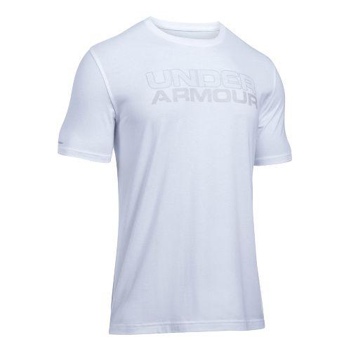 Mens Under Armour Mesh Gel Stacked Wordmark Short Sleeve Technical Tops - White S