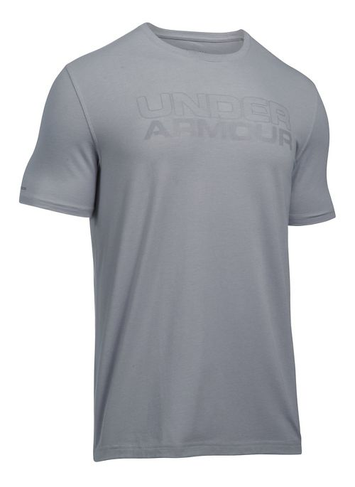 Mens Under Armour Mesh Gel Stacked Wordmark Short Sleeve Technical Tops - Overcast Grey M