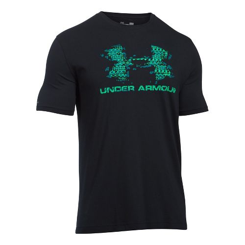 Mens Under Armour Sportstyle Blow Out Logo Short Sleeve Technical Tops - Black/Vapor Green L