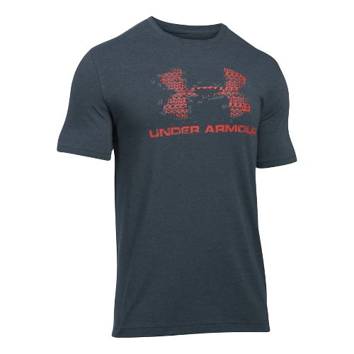 Mens Under Armour Sportstyle Blow Out Logo Short Sleeve Technical Tops - Grey/Graphite M